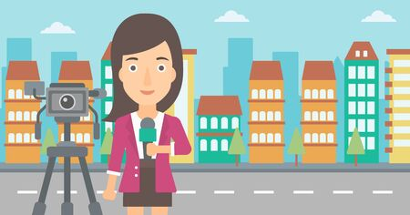 A camera filming and a reporter standing with a microphone on a city background vector flat design illustration. Horizontal layout.