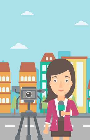 filming: A camera filming and a reporter standing with a microphone on a city background vector flat design illustration. Vertical layout.