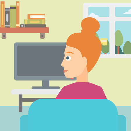 A woman sitting on the couch in living room and watching tv vector flat design illustration. Square layout.