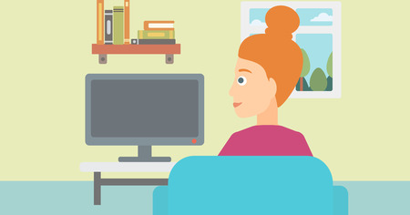 living room tv: A woman sitting on the couch in living room and watching tv vector flat design illustration. Horizontal layout.