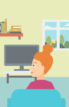 woman watching tv: A woman sitting on the couch in living room and watching tv vector flat design illustration. Vertical layout.