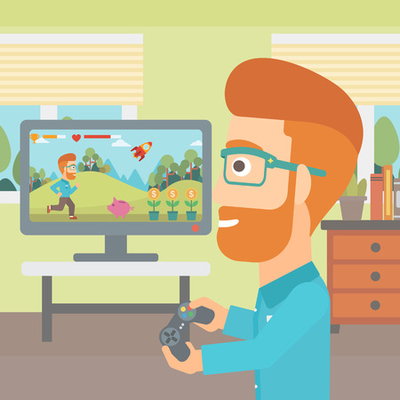 A hipster man with the beard playing video game with gamepad in hands in living room vector flat design illustration. Square layout.