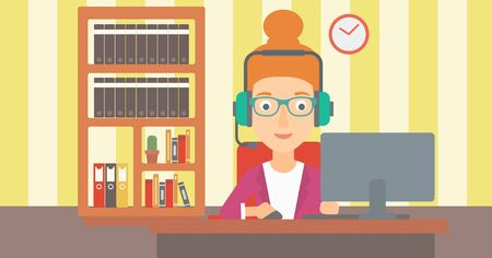 A woman in headphones sitting in front of computer monitor with mouse in hand on the background ofliving room vector flat design illustration. Horizontal layout. Stock Illustratie