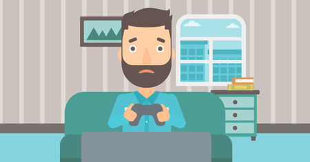 A tired hipster man with the beard sitting on a sofa with gamepad in hands on the background of living room vector flat design illustration. Horizontal layout.