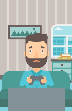 A tired hipster man with the beard sitting on a sofa with gamepad in hands on the background of living room vector flat design illustration. Vertical layout.