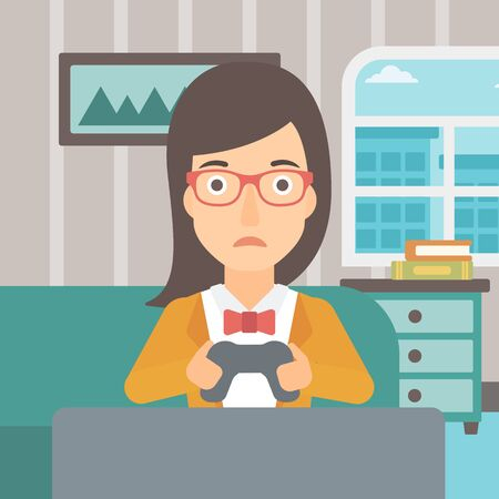 drug user: A tired woman sitting on a sofa with gamepad in hands on the background of living room vector flat design illustration. Square layout.