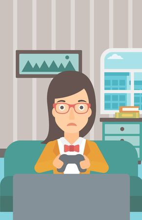 living room design: A tired woman sitting on a sofa with gamepad in hands on the background of living room vector flat design illustration. Vertical layout. Illustration