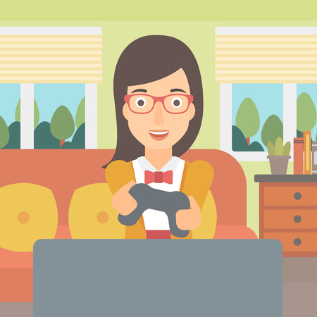 An enthusiastic woman with gamepad in hands on the background of living room vector flat design illustration. Square layout.
