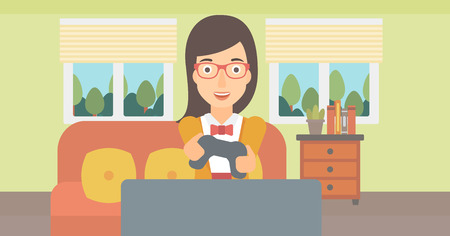 enthusiastic: An enthusiastic woman with gamepad in hands on the background of living room vector flat design illustration. Horizontal layout.