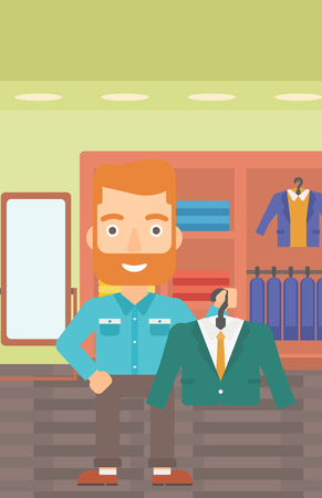choosing clothes: A hipster man with the beard holding a hanger with a jacket on the background of clothes store vector flat design illustration. Vertical layout.