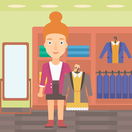 hangers: A woman holding a hanger with dress and jacket on the background of clothes store vector flat design illustration. Square layout. Illustration