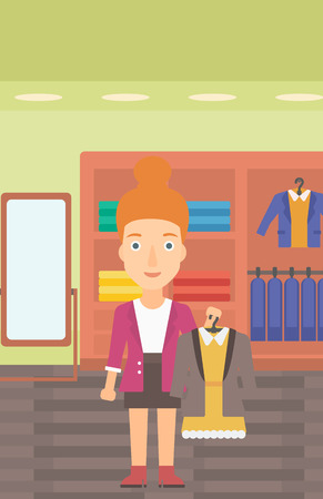 choosing clothes: A woman holding a hanger with dress and jacket on the background of clothes store vector flat design illustration. Vertical layout. Illustration