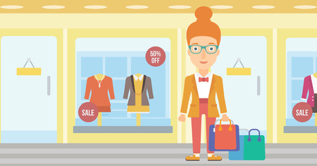 show window: A woman with bags on the background of boutique window with dressed mannequins vector flat design illustration. Horizontal layout. Illustration