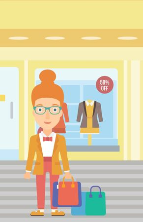 shop show window: A woman with bags on the background of boutique window with dressed mannequins vector flat design illustration. Vertical layout.