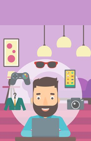 A hipster man with the beard sitting in front of laptop and some icons of goods around him on the background of living room vector flat design illustration. Vertical layout. Illustration