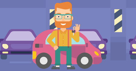 A hipster man with the beard holding keys from his new car on the background of car shop vector flat design illustration. Horizontal layout. Stock Vector - 56520906