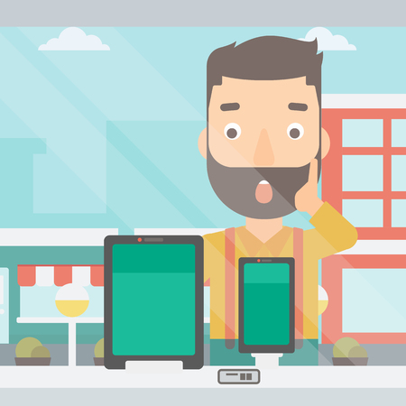 astonished: An astonished hipster man with the beard looking at digital tablet and smartphone through the shop window on a city background vector flat design illustration. Square layout. Illustration