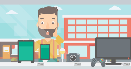 digital design: An astonished hipster man with the beard looking at digital tablet and smartphone through the shop window on a city background vector flat design illustration. Horizontal layout.