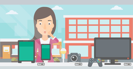 An astonished woman looking at digital tablet and smartphone through the shop window on a city background vector flat design illustration. Horizontal layout.