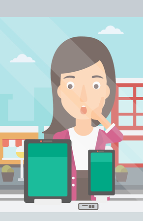 astonished: An astonished woman looking at digital tablet and smartphone through the shop window on a city background vector flat design illustration. Vertical layout.