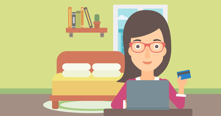 purchases: A woman sitting in front of laptop with credit card in hand and making purchases online on the background of bedroom vector flat design illustration. Horizontal layout.