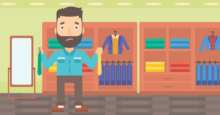 A hipster man with the beard holding two different neckties and trying to choose the best one on the background of clothes store vector flat design illustration. Horizontal layout.