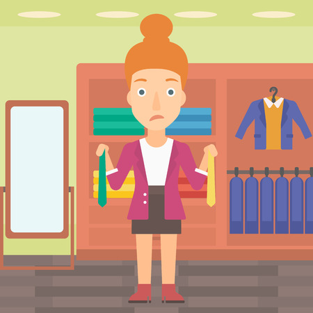 choosing clothes: A woman holding two different neckties and trying to choose the best one  on the background of clothes store vector flat design illustration. Square layout. Illustration
