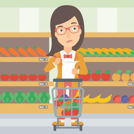 A thoughtful woman standing with full supermarket trolley and holding a shopping list in hands on the background of shelves vector flat design illustration. Square layout.
