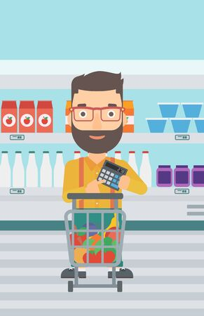 expensive food: A hipster man with the beard standing near shopping cart and holding a calculator in hands on the background of supermarket shelves with products vector flat design illustration. Vertical layout.