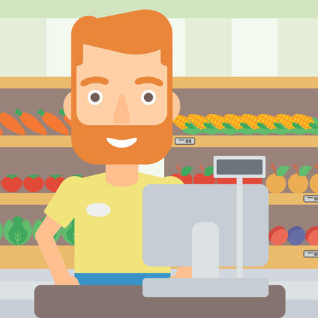 supermarket checkout: A hipster salesman with the beard standing at checkout on the background of supermarket shelves with products vector flat design illustration. Square layout.