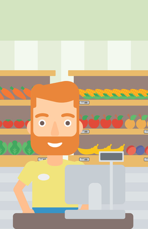 supermarket checkout: A hipster salesman with the beard standing at checkout on the background of supermarket shelves with products vector flat design illustration. Vertical layout.