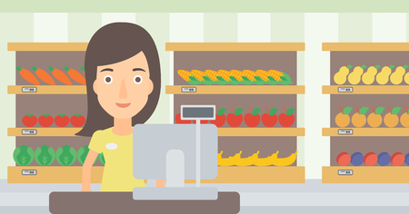 checkout: A saleslady standing at checkout on the background of supermarket shelves with products vector flat design illustration. Horizontal layout.