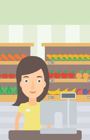 checkout: A saleslady standing at checkout on the background of supermarket shelves with products vector flat design illustration. Vertical layout.