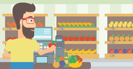 A hipster cashier at supermarket counter with vegetables and fruits on the background of supermarket shelves with products vector flat design illustration. Horizontal layout.