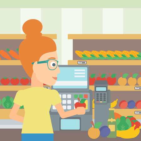 A cashier at supermarket counter with vegetables and fruits on the background of supermarket shelves with products vector flat design illustration. Square layout.