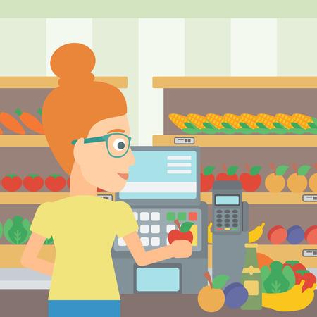 mujer en el supermercado: Un cajero en el mostrador de supermercado con verduras y frutas en el fondo de los estantes de los supermercados con productos vector Ilustración diseño plano. de planta cuadrada.