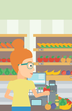 A cashier at supermarket counter with vegetables and fruits on the background of supermarket shelves with products vector flat design illustration. Vertical layout.