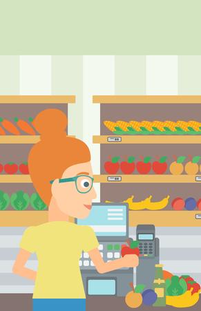 mujer en el supermercado: Un cajero en el mostrador de supermercado con verduras y frutas en el fondo de los estantes de los supermercados con productos vector Ilustración diseño plano. disposición vertical.
