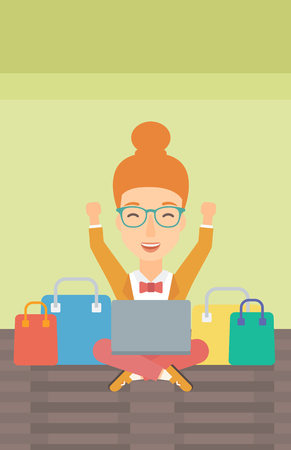 A woman sitting in front of laptop with hands up and some bags of goods nearby on a light green background vector flat design illustration. Vertical layout.