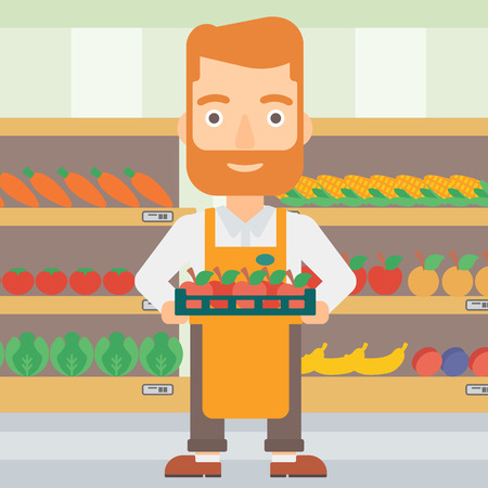 work crate: A hipster man with the beard holding a box with apples on the background of shelves with vegetables and fruits in supermarket vector flat design illustration. Square layout. Illustration