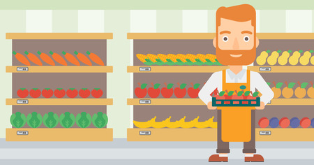 A hipster man with the beard holding a box with apples on the background of shelves with vegetables and fruits in supermarket vector flat design illustration. Horizontal layout.
