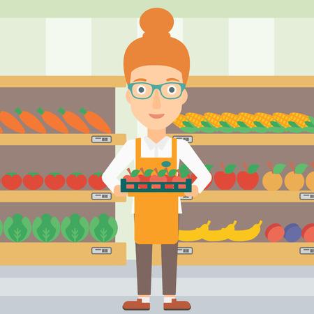 야채와 과일 슈퍼마켓에서 선반의 배경에 사과 상자를 들고 여자 벡터 평면 디자인 일러스트 레이 션. 사각형 레이아웃. 일러스트