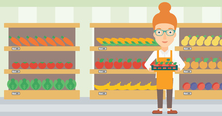 shop assistant: A woman holding a box with apples on the background of shelves with vegetables and fruits in supermarket vector flat design illustration. Horizontal layout.
