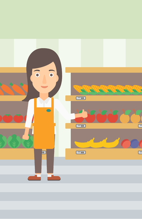 A supermarket worker showing thumb up on the background of shelves with vegetables and fruits in supermarket vector flat design illustration. Vertical layout.