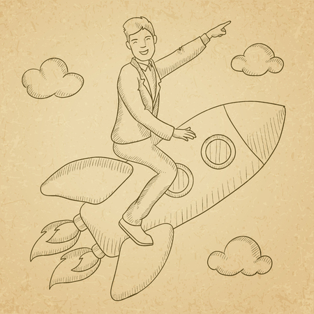 man pointing up: A man flying on the rocket and pointing his forefinger up. Hand drawn vector sketch illustration. Old paper vintage background. Illustration