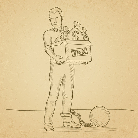 man carrying box: Chained to a large ball man carrying heavy box with bags full of taxes. Hand drawn vector sketch illustration. Old paper vintage background.