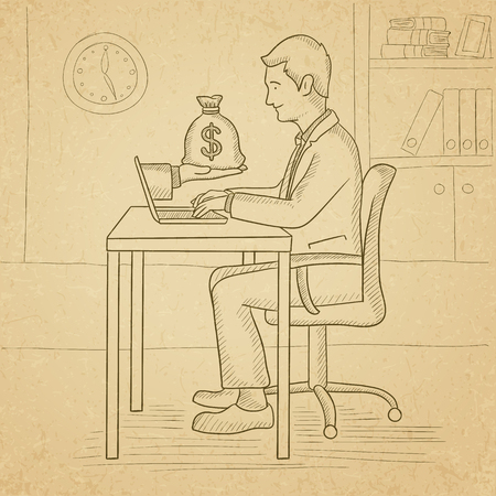 old man sitting: A man sitting at the desk in office and a bag of money coming out of his laptop. Hand drawn vector sketch illustration. Old paper vintage background.