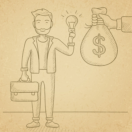 exchanging: A hipster man with the beard exchanging his idea bulb to money bag. Hand drawn vector sketch illustration. Old paper vintage background.