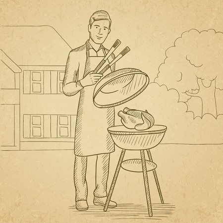 front yard: A man cooking chicken on barbecue in the yard in front of house. Hand drawn vector sketch illustration. Old paper vintage background.