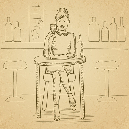 woman drinking wine: A woman sitting at the bar and drinking wine. Hand drawn vector sketch illustration. Old paper vintage background. Illustration
